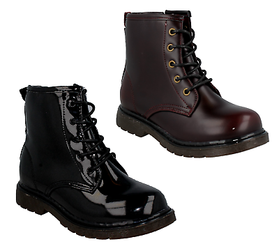GIRLS SPOT ON H4109 CHILDRENS BLACK PATENT BURGUNDY PU LACE UP ZIP BOOTS SHOES