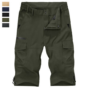 Men-039-s-3-4-Casual-Shorts-Quick-Drying-Outdoor-Hiking-Tactical-Cargo-Work-Shorts