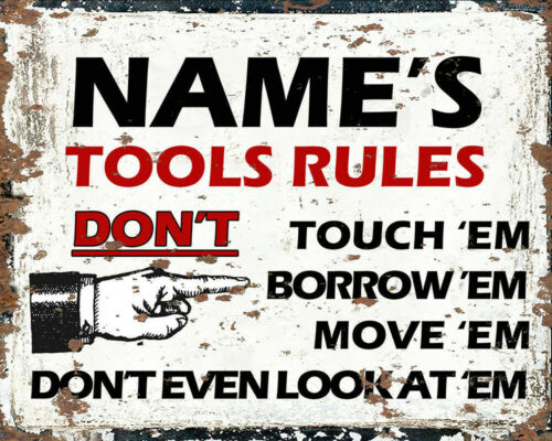 Tool rules Garage Personalised Name ENAMEL METAL TIN SIGN WALL PLAQUE