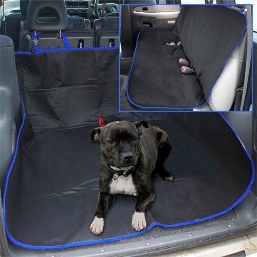 2 IN 1 WATERPROOF CAR REAR BACK SEAT COVER PET DOG PROTECTOR BOOT MAT LINER BLUE