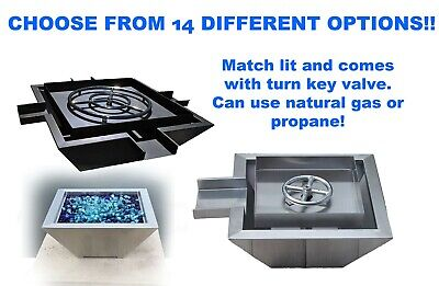 Outdoor Patio Stainless Steel Fire Pit Bowl w// Waterfall Natural Gas or Propane