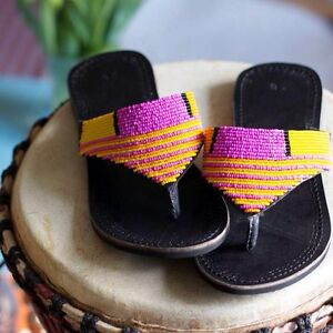 c3f063c5b4a7c Details about Masai beaded leather sandals handmade in Africa new ladies  shoes slippers
