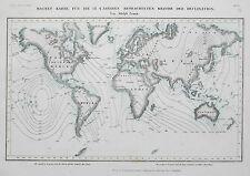 1849 -52 World of Magnetic Delination Genuine Antique Map Meyer