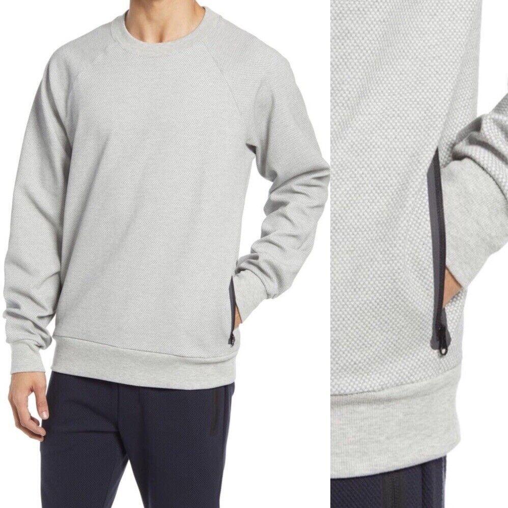 ALO Yoga Impel Sweatshirt Pullover Grey Crewneck Zip Pockets Zipper Raglan Small