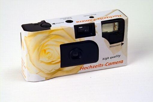 """10x Hochzeitskamera Einwegkamera """" Weiße Rose """" ! Hochzeit 27 Aufnahmen Blitz"""
