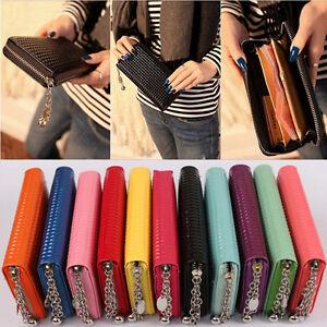 Stylish-Women-Zip-Round-Leather-Colorful-Wallet-Case-Lady-Long-Handbag-Purse-Bag