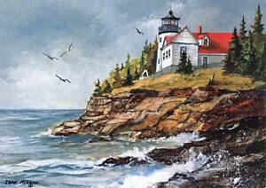 Bass Harbor Lighthouse, Maine - Artistic greeting card by Jean McLean, 5 x 7