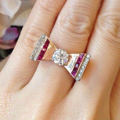 Estate Retro Old European cut Diamond & Ruby  Bow Ring 14K Rose Gold - HM774