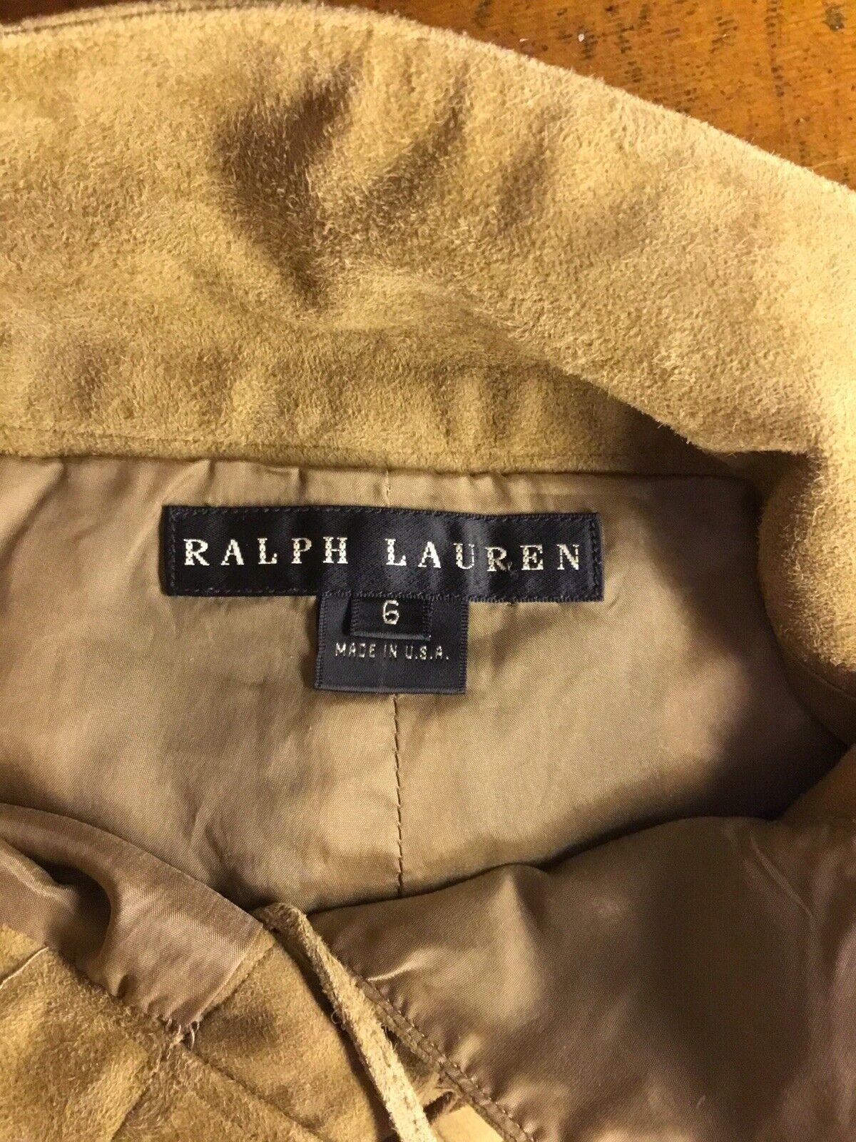 Ralph Lauren Black Label Gold Painted Brown Suede… - image 4