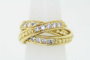 cc0456e91 Image is loading 18k-Yellow-Gold-66ct-Round-Diamond-Triple-Interlocking-