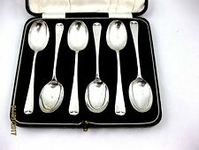 Solid Silver   BOXED SET OF 6 COFFEE SPOONS Hallmarked  BIRMINGHAM 1931
