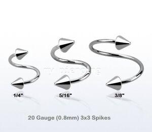 """20g ~ 1/4 """" 2 Stk 1.3cm Chirurgenstahl Spitzen Spirale Twister Ohr Nase"""