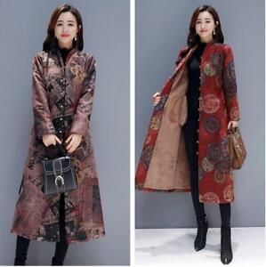 Women-Floral-Printed-Ethnic-Woolen-Coat-Long-Warm-Brushed-Fleeced-Lined-Outwears