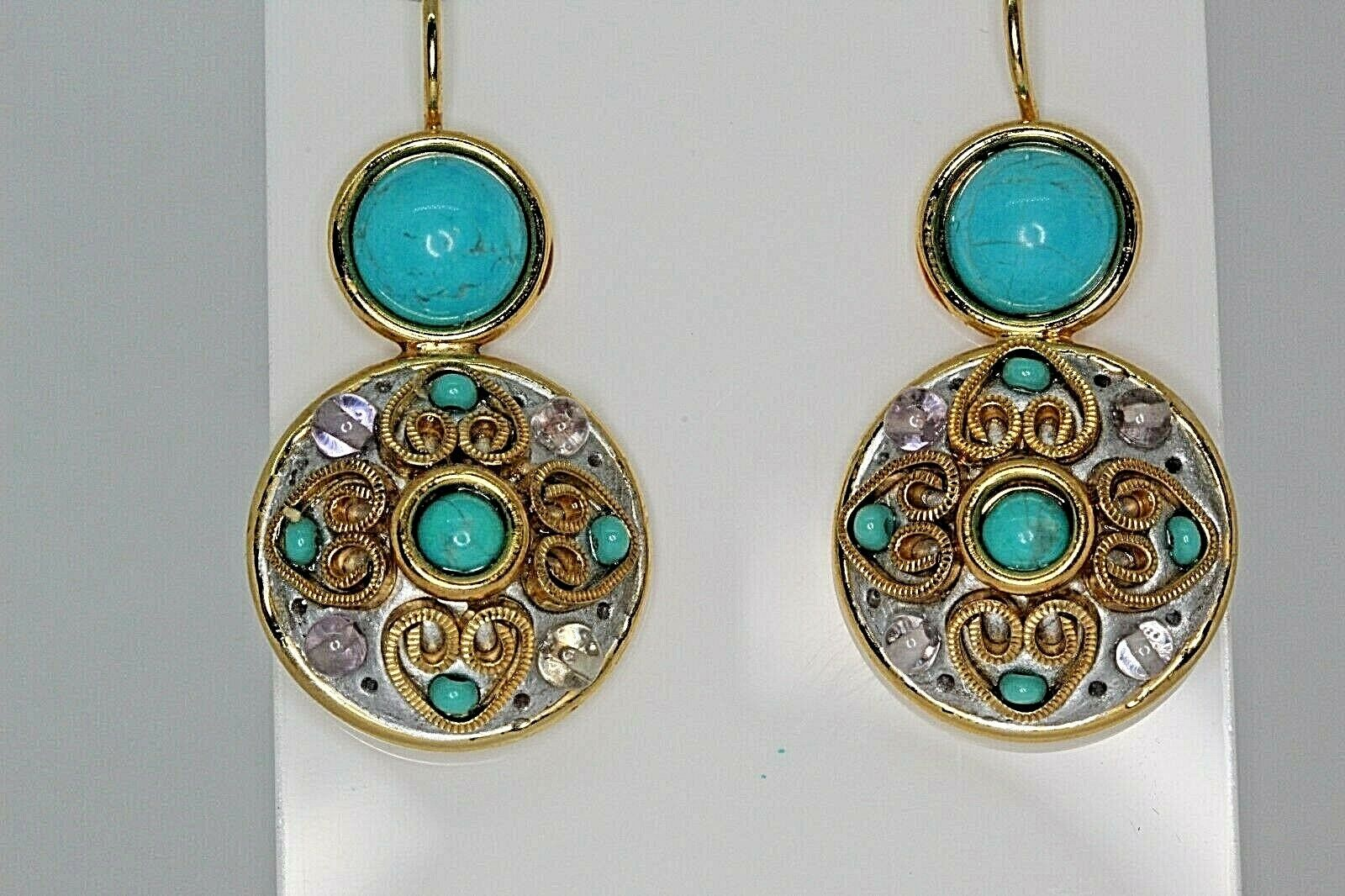 Michal Golan Earrings gold Tone French Wire Turquoise color