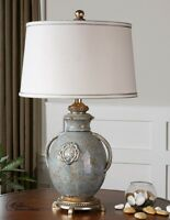 French Country Old World Tuscan Textured Ceramic Table Lamp Distressed Blue 29h