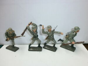 Details about Convolute 4 Vintage Lineol Ground Soldiers Fighting Stürmend  to 3in
