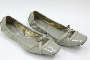 TOD-039-S-women-shoes-sz-8-5-Europe-39-gray-patent-leather-S7682