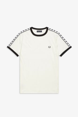 B34 M6347 Fred Perry Snow White Taped Ringer T-Shirt