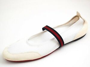 Gucci Ballet Flats Web Stripe Beige Suede Women Size EU 40 US 10 $580