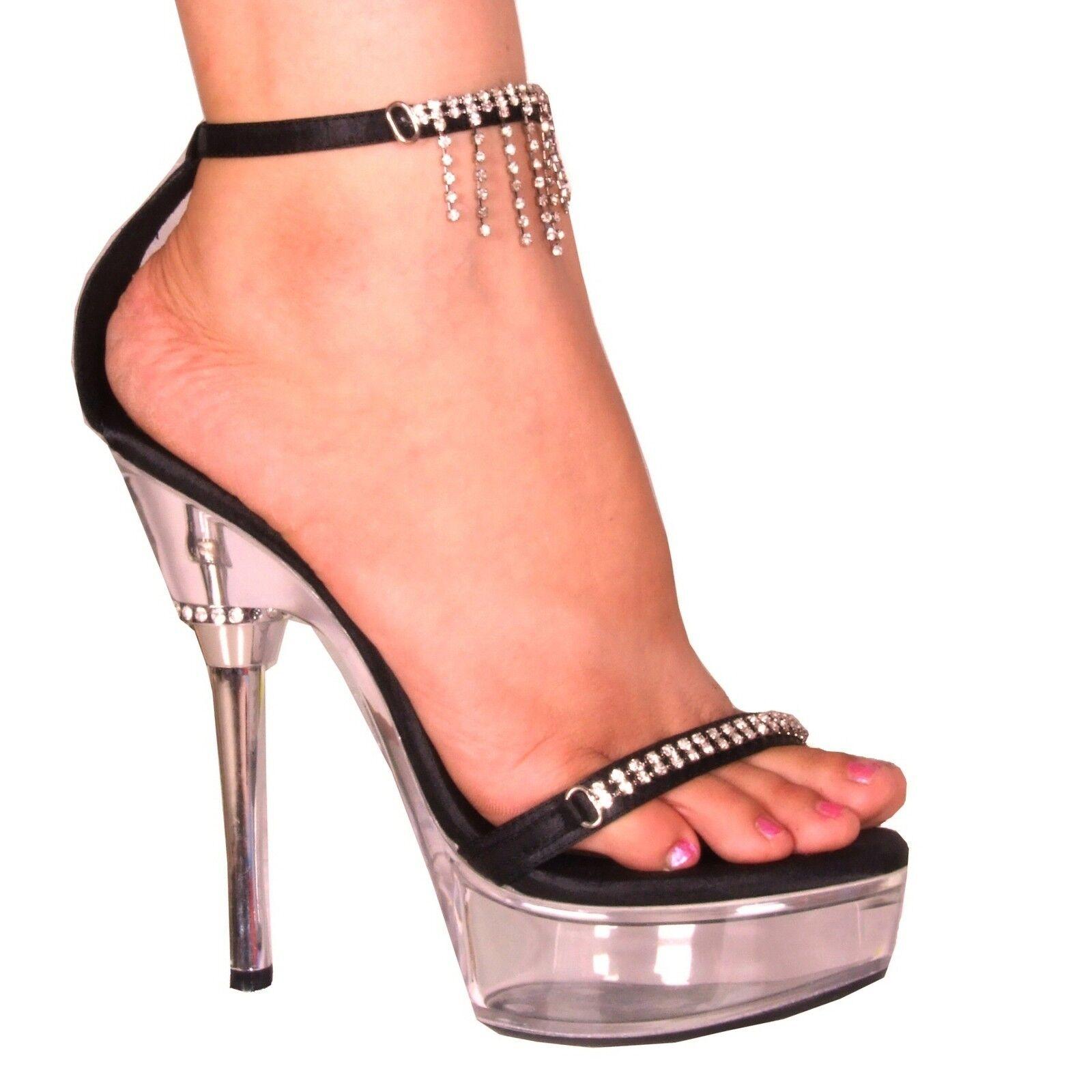 Desire Black Satin 5.5 inch Stiletto Heel Diamante Dancer Platform Sandal UK 5