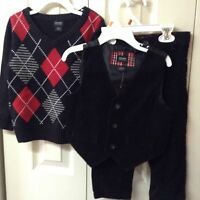 Boys Outfit Lot 3 Piece Valentine Size 2t Black Red Corduroy Holiday Edition