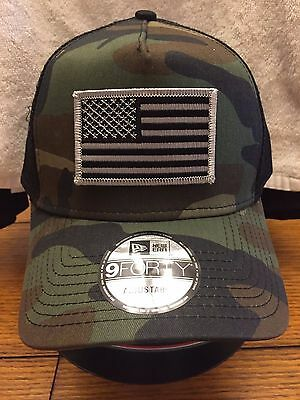 4c36004b8bc New Era NE205 Camo Mesh Snapback Trucker Hat Cap w  Black Grey American Flag