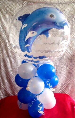 """HAPPY BIRTHDAY DOLPHIN AIR FILL 21/"""" BALLOON TABLE DISPLAY PARTY DECORATION"""
