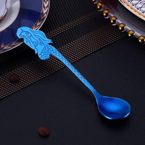 Stainless Steel Mermaid Shape Spoons Convenient Milk Juice Mixing Spoons