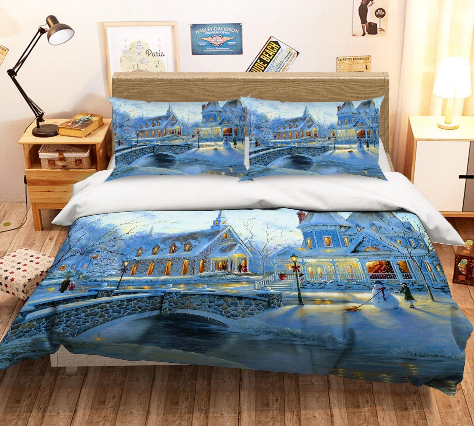 3D Christmas  Xmas 05 Bett Pillowcases Quilt Duvet Startseite Set Single Königin König UK