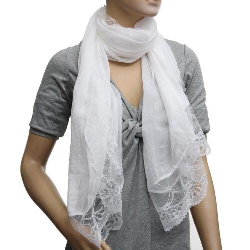 Donna Sciarpe in Chiffon Foulard Scialle Sciarpa Bianco BT