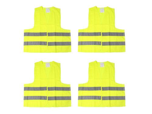 4 x Warnweste Unfallweste Neon Gelb Sicherheitswarnweste KFZ DIN EN ISO 20471 DE