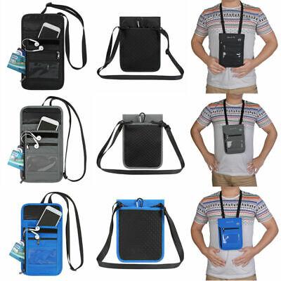 Multifunction ID Card Package RFID Credit Card Holder Neck Hanging Bag Black