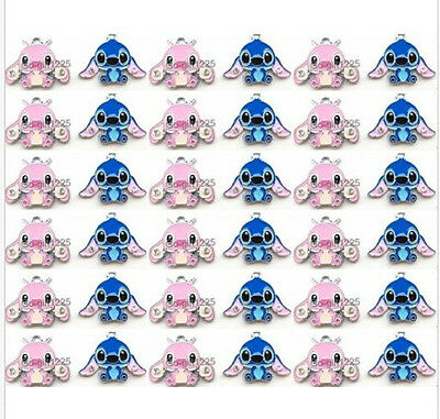 New lot pink blue Stitch Charms Earrings Pendants DIY Jewelry Making