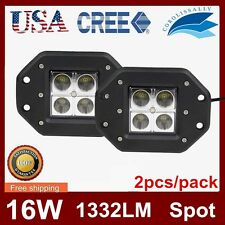2X 16W CREE LED POD LIGHT SQUARE LAMP CUBE BUMPER SPOT BEAM FLUSH MOUNT DRIVING