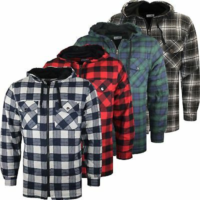 New Mens Quilted Hooded Padded Shirt Lumberjack Flannel Work Warm Jacket M-3XL