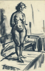 Peter Collins ARCA - c.1970s Charcoal Drawing, Female Nude in an Interior.