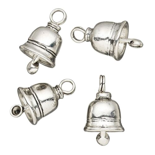 4 Antiqued Silver Plated Pewter 16x12mm Bell Drop Charms