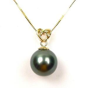 14K-Yellow-Gold-10-11mm-Top-Quality-Cultured-Tahitian-Black-Pearl-Pendant