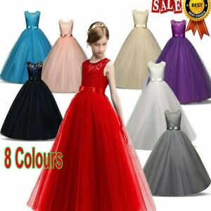 Flower Girl Kid Lace Bridesmaid Maxi Dress Princess Prom Wedding Party Gown Xmas