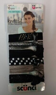 Colors As Shown 12 Ponytailers Scunci No-Damage Knotted Ponytailers 2//Pack