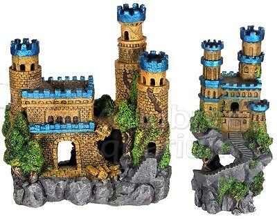 castle metallic blue tower rockycliff resin aquarium 2 ornaments 12 tall