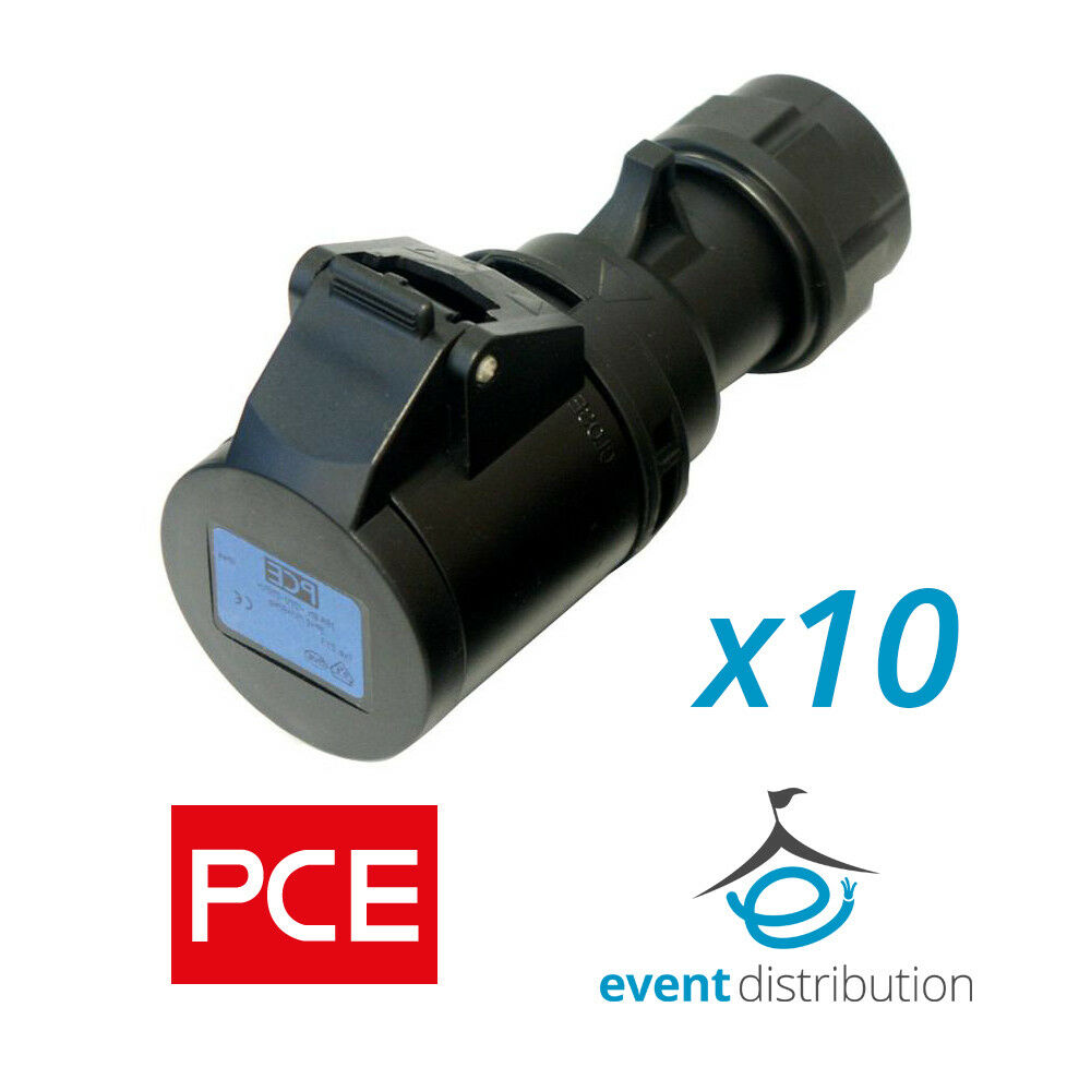 Stage 5 x 16 Amp PCE IP44 Black Ceeform Female Socket Connector 16A Event