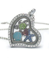 Origami-style Sealife Turtle Clam Star Floating Charm Heart Locket 24 Necklace