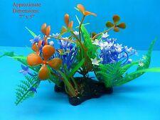 """PLASTIC PLANT W HEAVY BASE A286 5"""" H x 7"""" AQUARIUM DECORATION"""