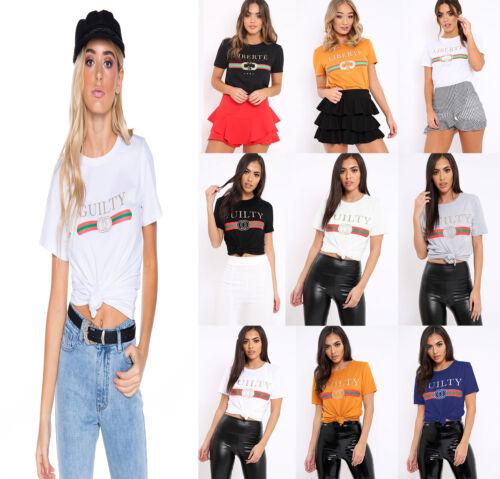 Femmes Slogan Celeb Designer Inspiré T Shirt liberte coupable Bonjour Queen rayures