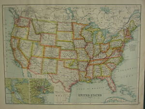 1902 ANTIQUE MAP ~ UNITED STATES FLORIDA NEW YORK SAN FRANCISCO ...