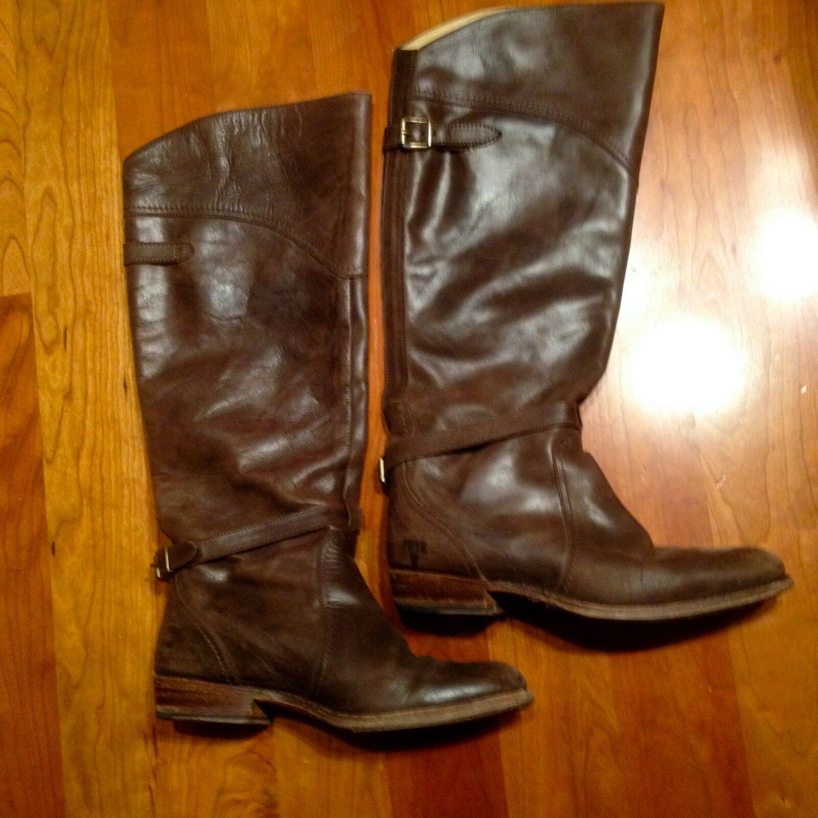 FRYE SHOES DORADO RIDING BOOTS DARK BROWN LEATHER KNEE HIGH 77561  458 8
