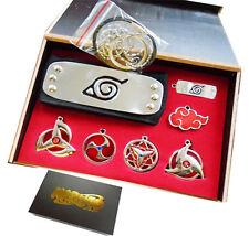 7PCS/Set Naruto  Sharingan Konoha Leaf Uchiha Pendant Necklace Keychain Headband