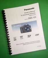 Laser Printed Panasonic Dmc-g3 Advanced Camera 208 Page Owners Manual Guide