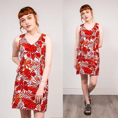 Bello Da Donna Anni'90 Vintage Rosso E Bianco Stampa Floreale Mini Vestito A-line Con Cinturini Hawaii 12- Vari Stili